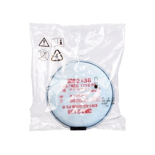 2138 PAIR OF FILTERS P3 FOR DUST, ORGANIC VAPORS AND ACID GASES 3M Dinamitek 5