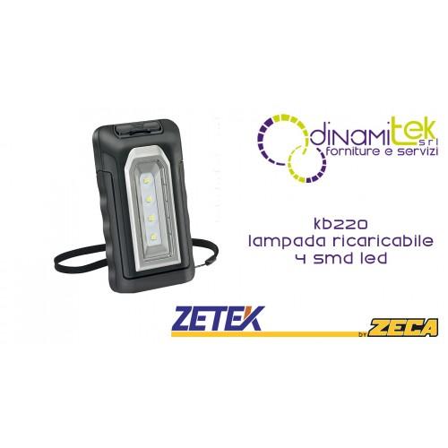 KB220 LAMPADA RICARICABILE TASCABILE CON 4 SMD LED(2W). CON CARICABATTERIE USB 100-240V E 12-24V ZETEK Dinamitek 1