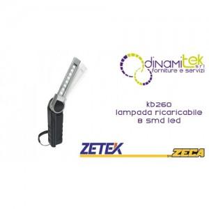 KB260 LAMPADA RICARICABILE ULTRASOTTILE CON 8 SMD LED(2,5W). CON CARICABATTERIE USB 100-240V E 12-24V ZETEK Dinamitek 1