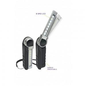 KB260 LAMPADA RICARICABILE ULTRASOTTILE CON 8 SMD LED(2,5W). CON CARICABATTERIE USB 100-240V E 12-24V ZETEK Dinamitek 2