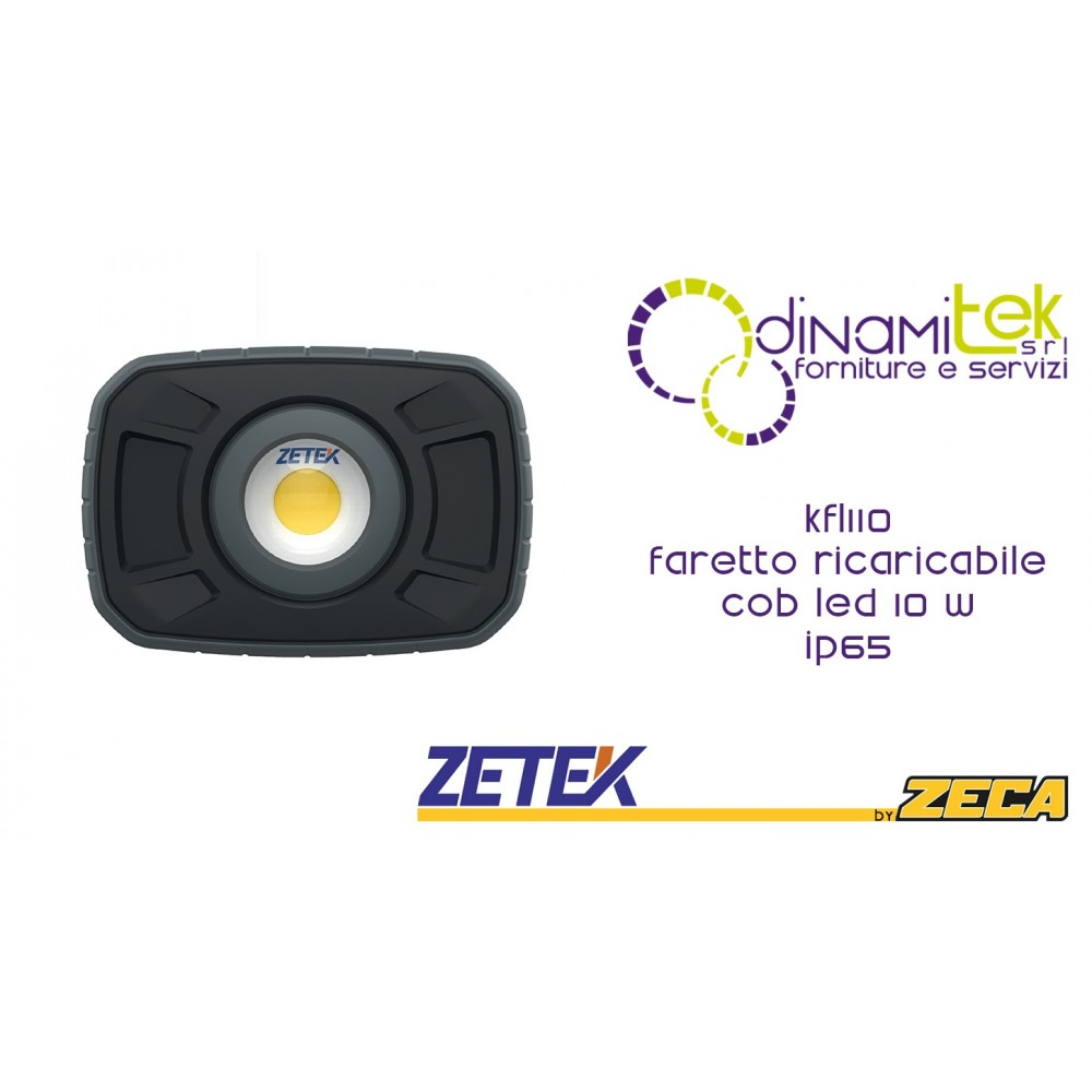 KFL110 FARETTO RICARICABILE CON COB LED(10W),IP65. CON CARICABATTERIE USB 100-240V Dinamitek 1