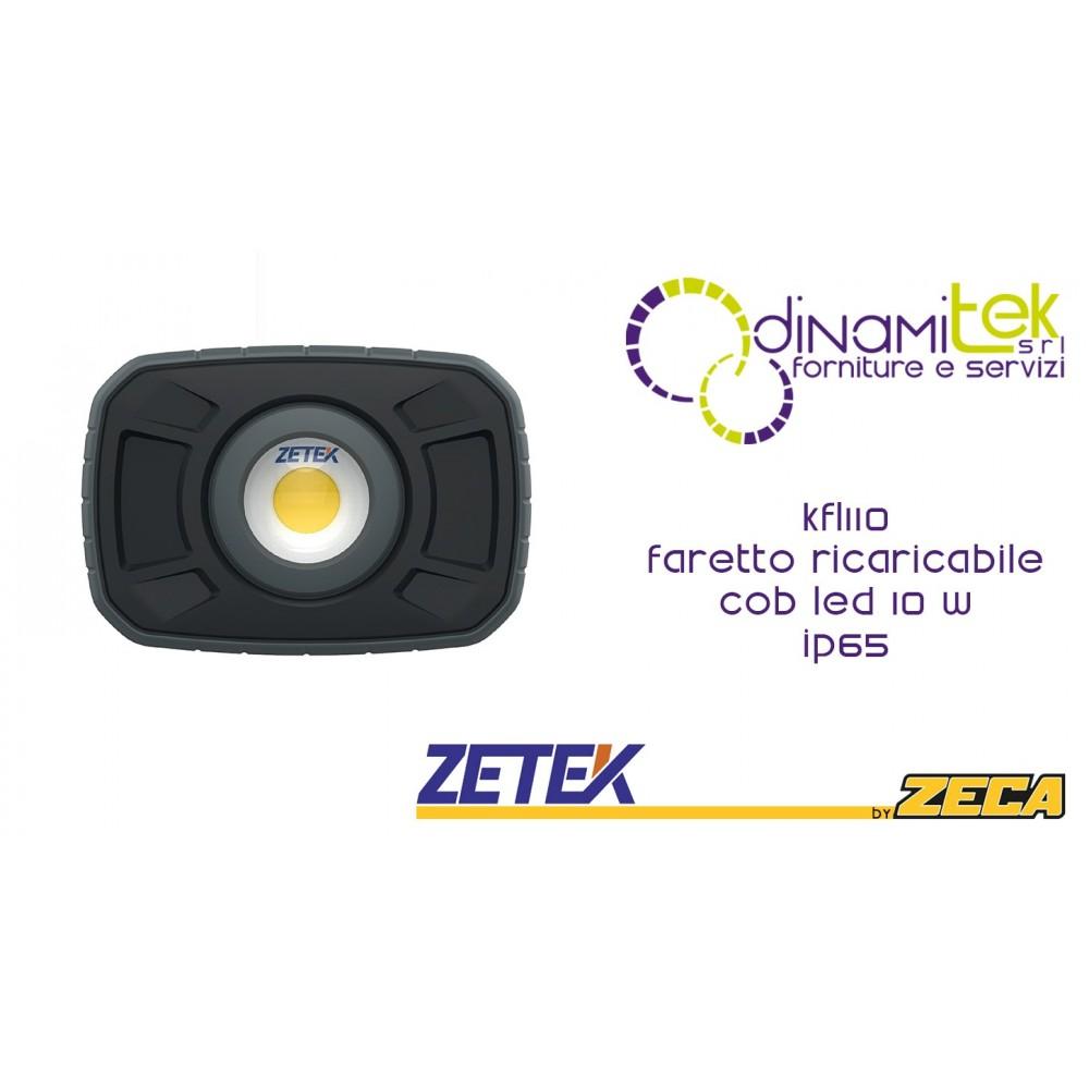 ZETEK KFL110 FARETTO RICARICABILE COB 10W Dinamitek 1