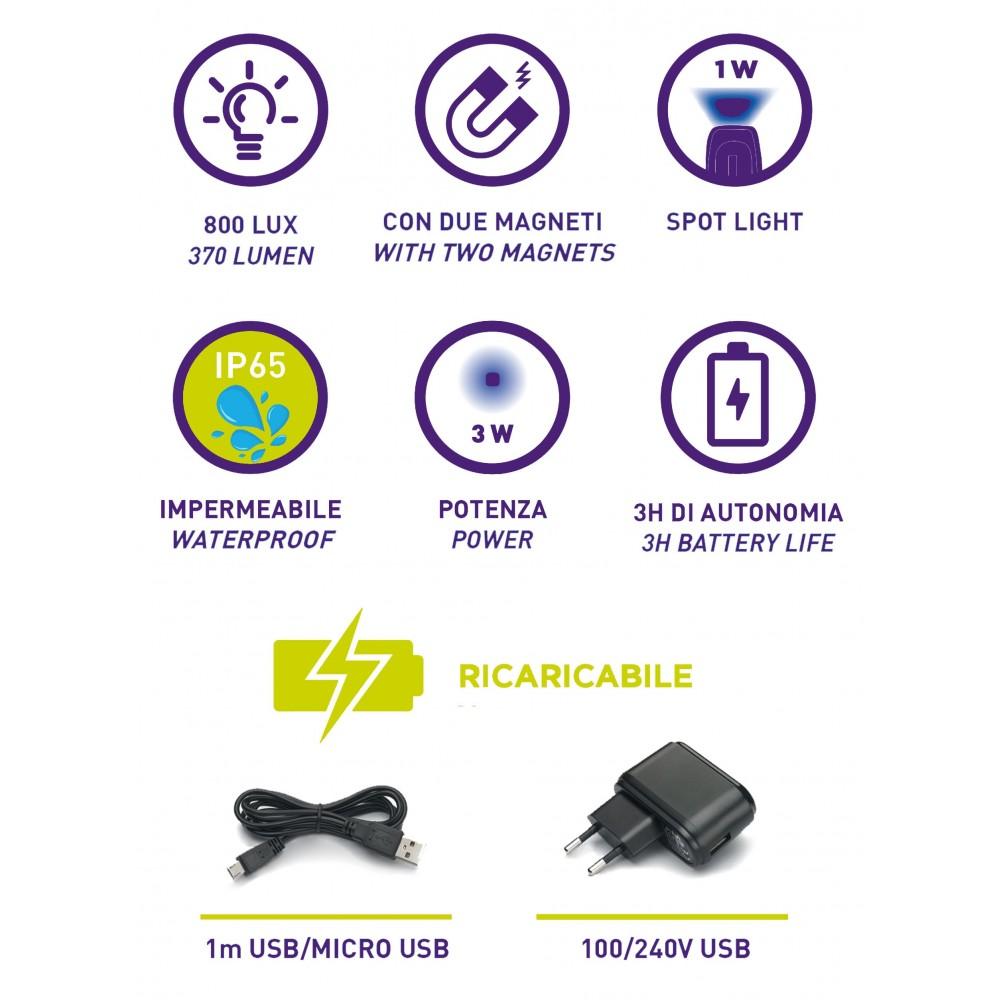 KB145 LAMPADA RICARICABILE IP65 CON COB LED(3W) + 1 W SPOT LED. CON CARICABATTERIE USB 100-240V ZETEK Dinamitek 4